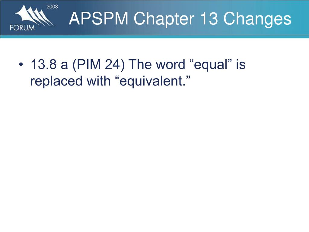 APSPM Chapter 13 Changes