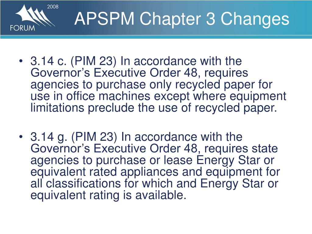 APSPM Chapter 3 Changes
