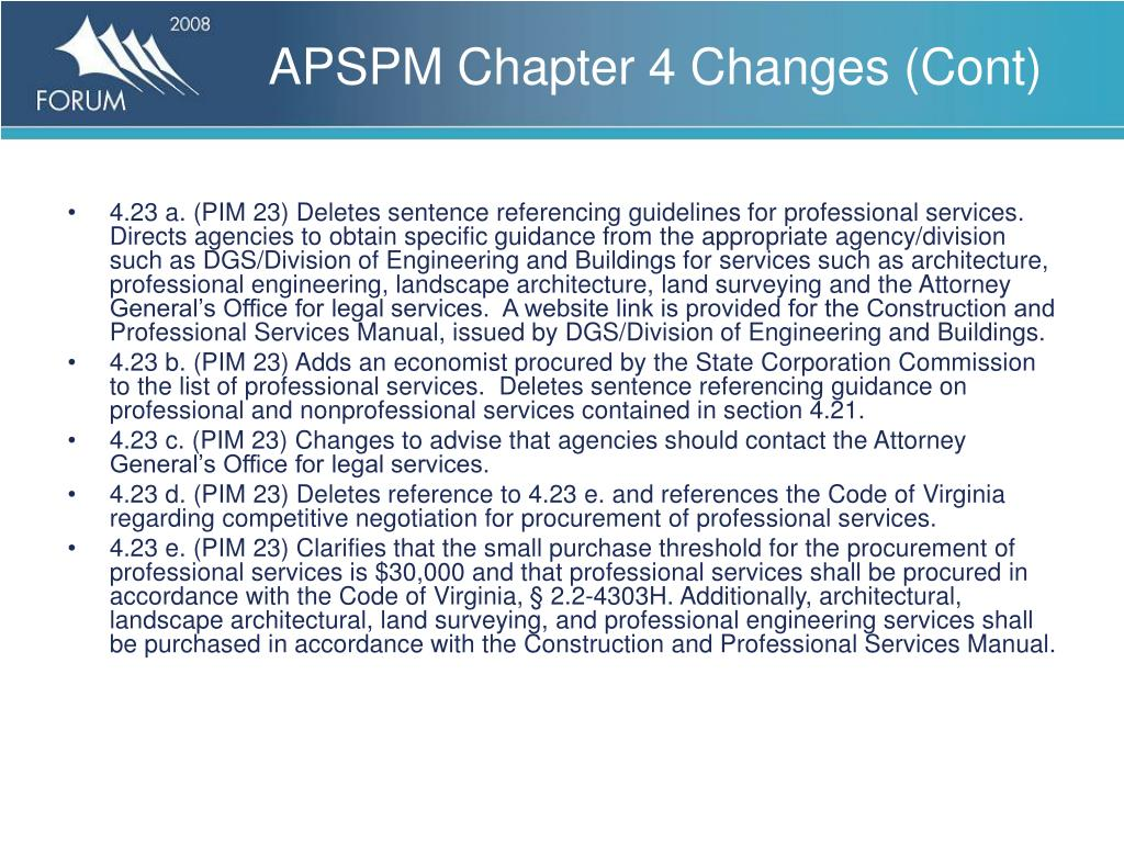APSPM Chapter 4 Changes (Cont)