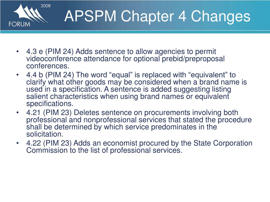 APSPM Chapter 4 Changes
