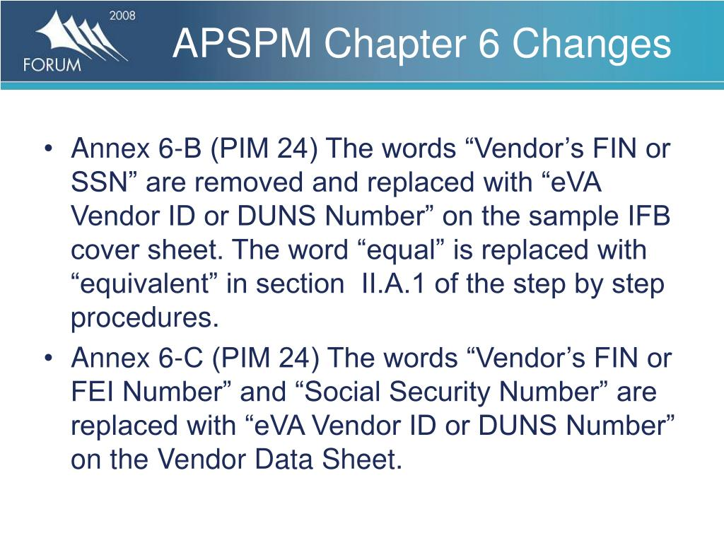 APSPM Chapter 6 Changes
