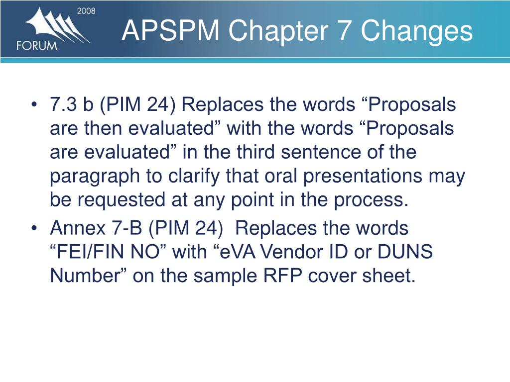 APSPM Chapter 7 Changes