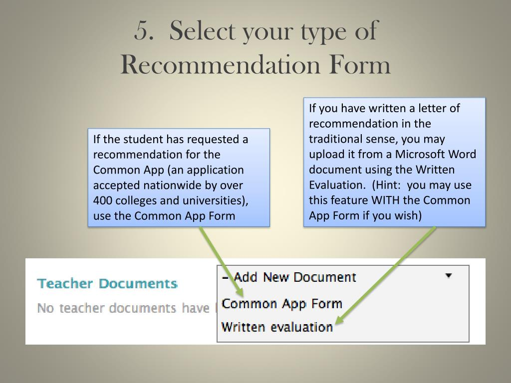 5.  Select your type of Recommendation Form