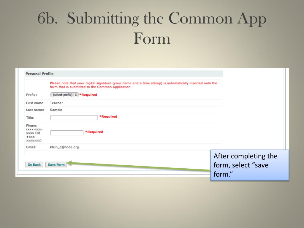 6b.  Submitting the Common App Form