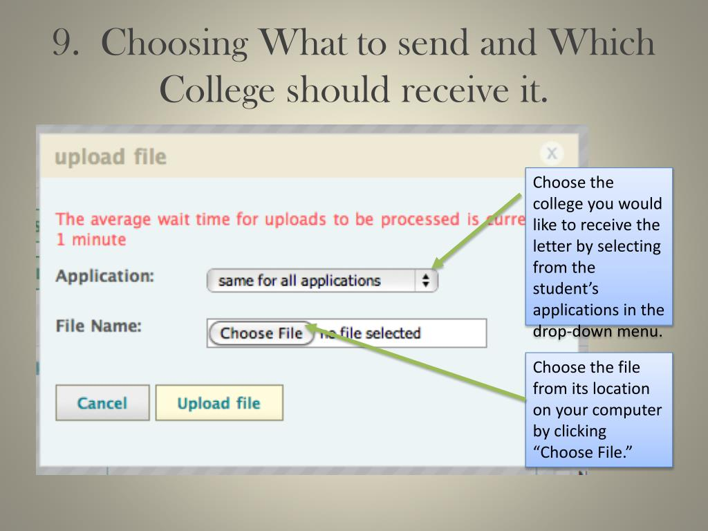9.  Choosing What to send and Which College should receive it.