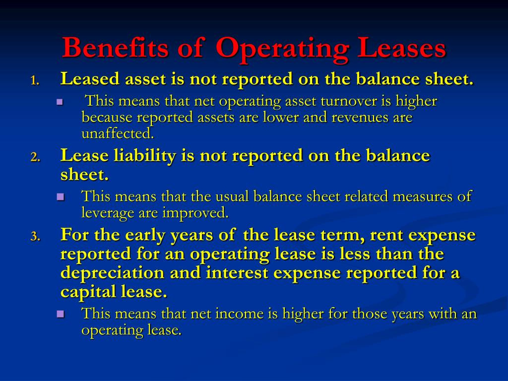 Benefits of Operating Leases