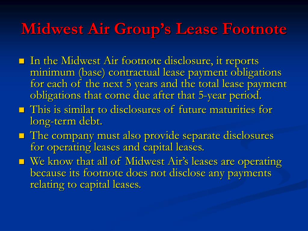 Midwest Air Group's Lease Footnote