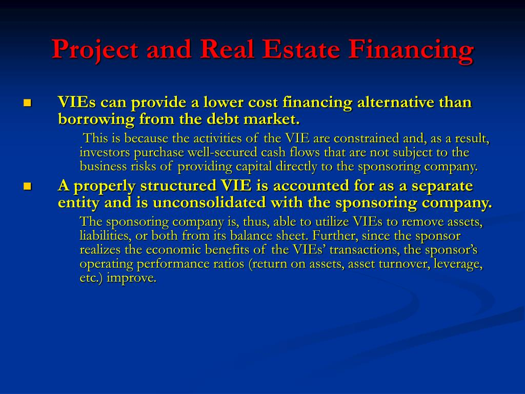 Project and Real Estate Financing