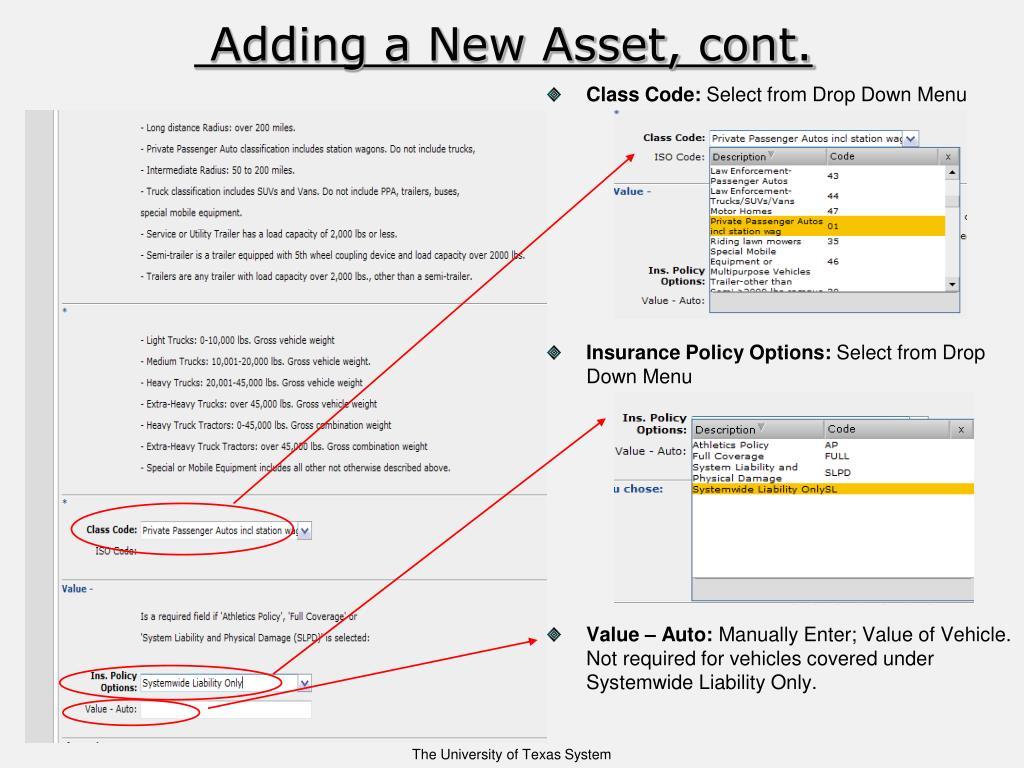 Adding a New Asset, cont.