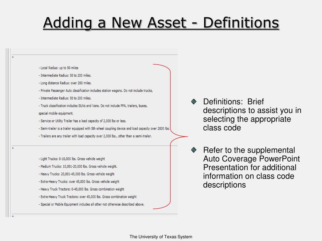 Adding a New Asset - Definitions
