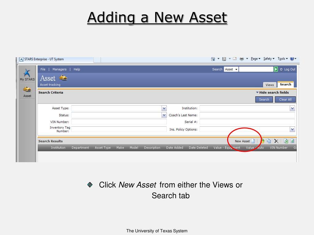 Adding a New Asset