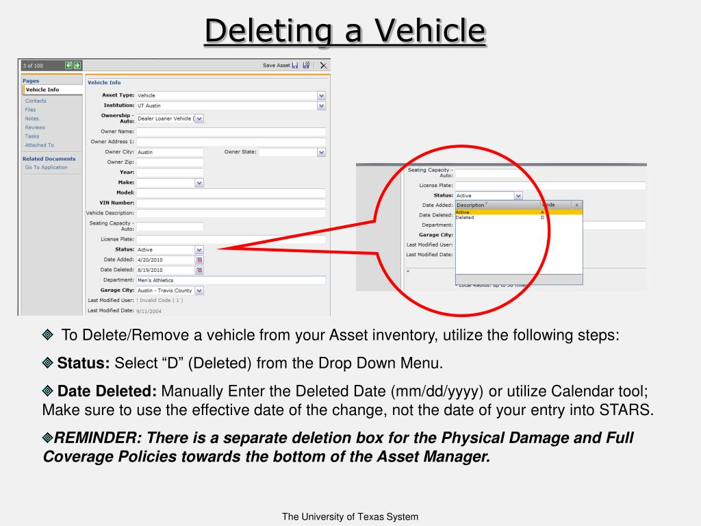 Deleting a Vehicle