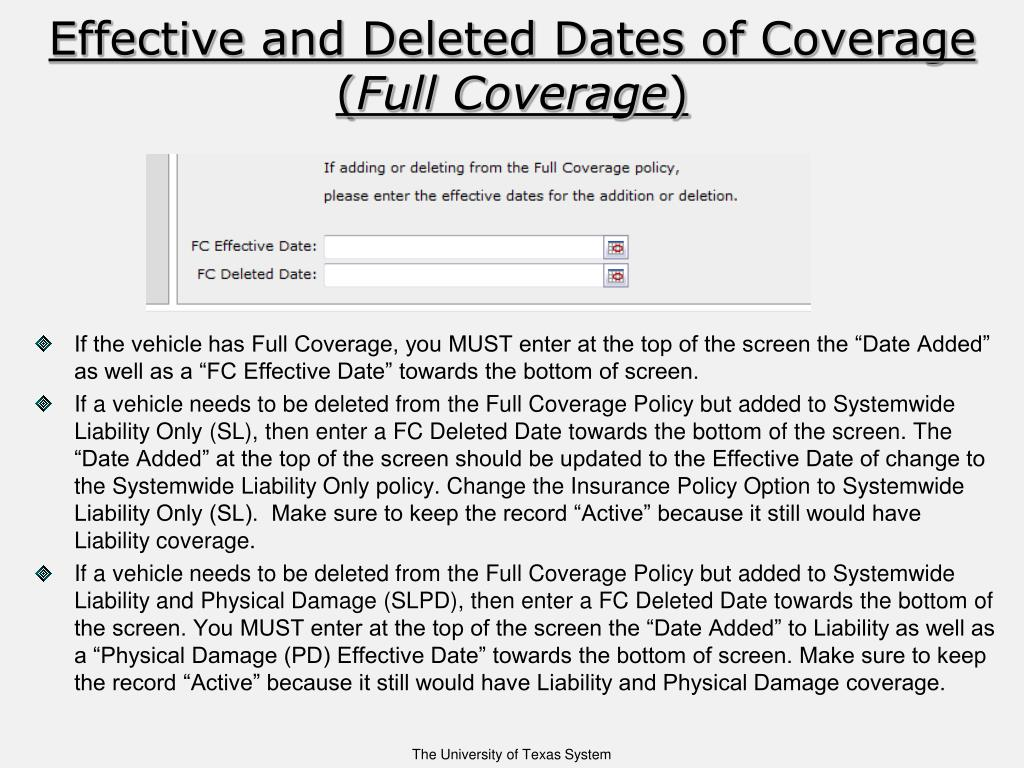 Effective and Deleted Dates of Coverage