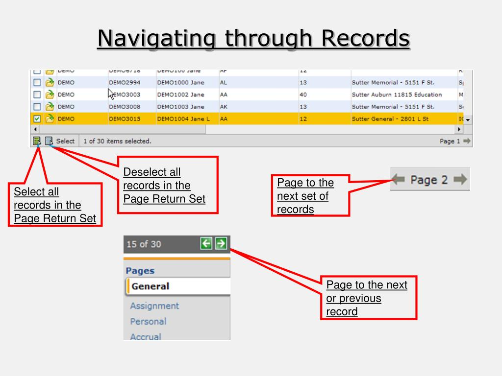 Navigating through Records