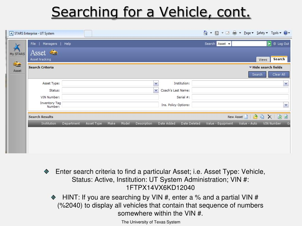 Searching for a Vehicle, cont.