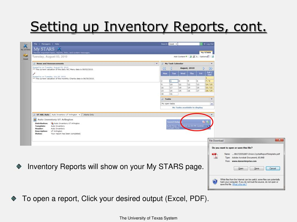 Setting up Inventory Reports, cont.