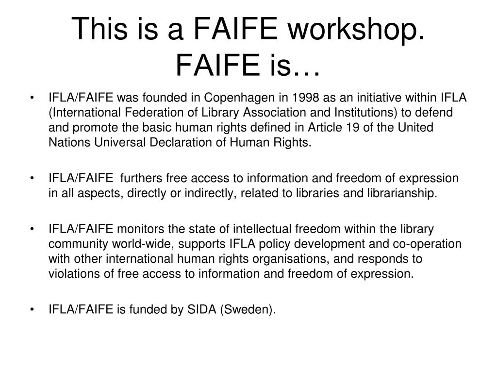 This is a FAIFE workshop. FAIFE is…