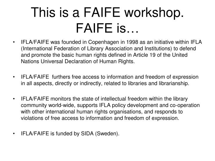 This is a faife workshop faife is