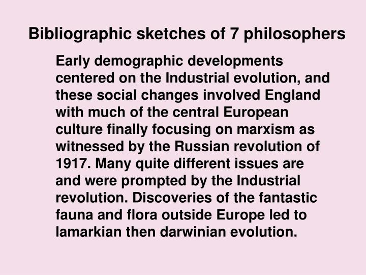 Bibliographic sketches of 7 philosophers