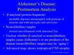 alzheimer s disease postmortem analysis