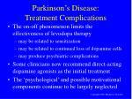 parkinson s disease treatment complications