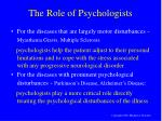 the role of psychologists