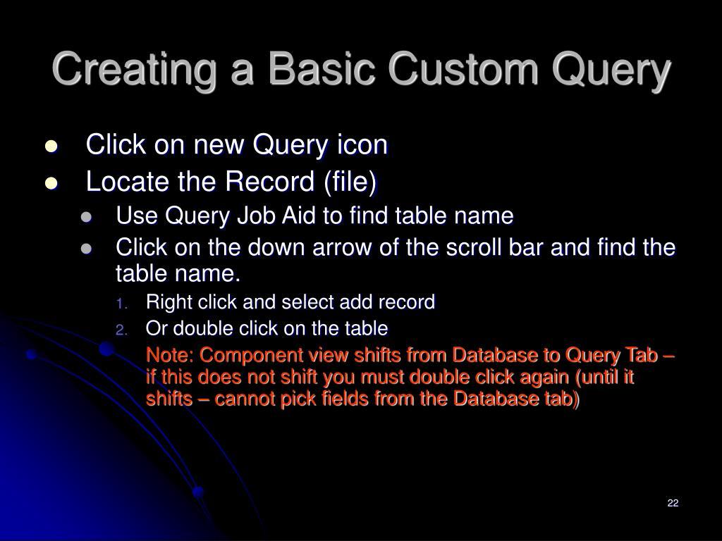 Creating a Basic Custom Query