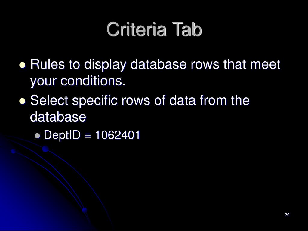 Criteria Tab