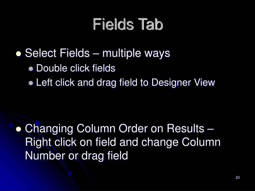 Fields Tab