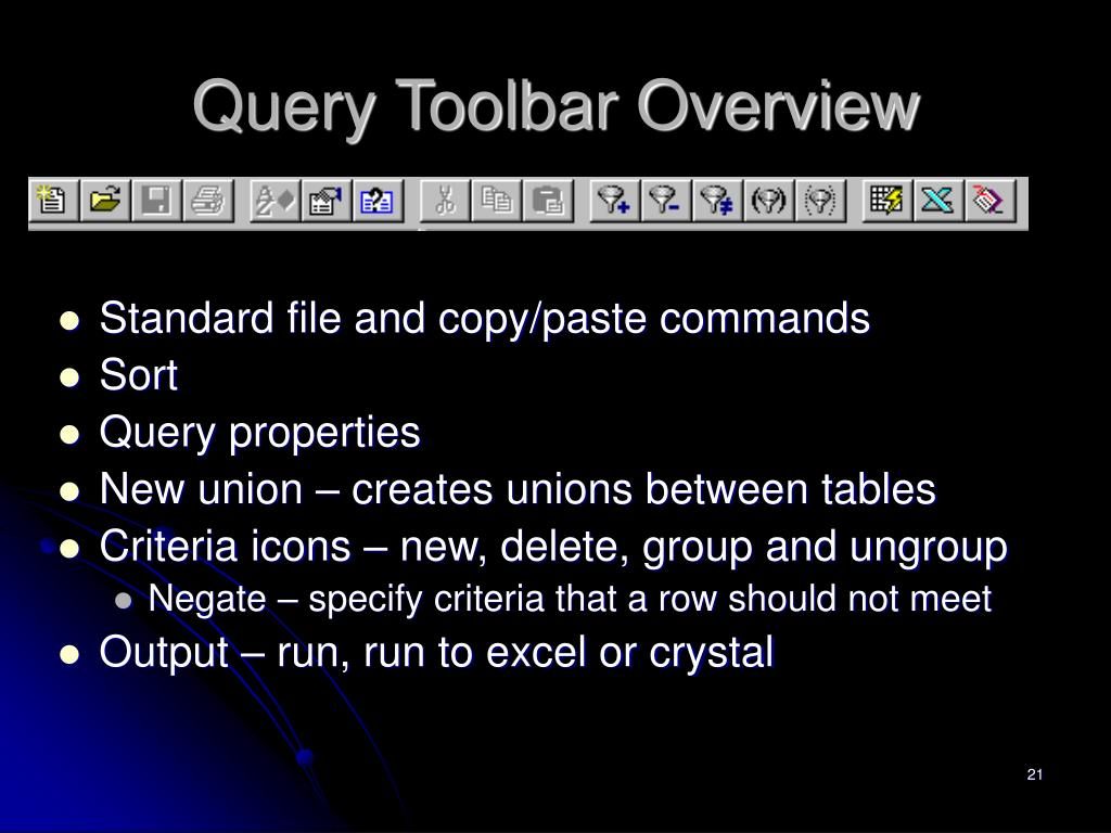 Query Toolbar Overview