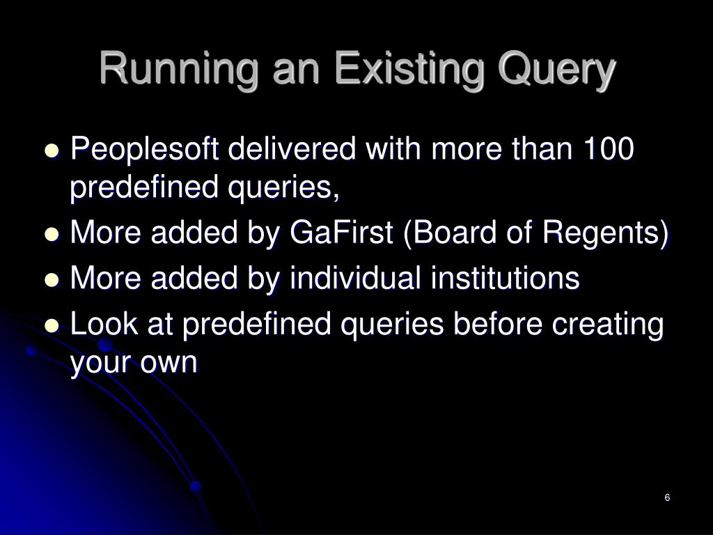Running an Existing Query