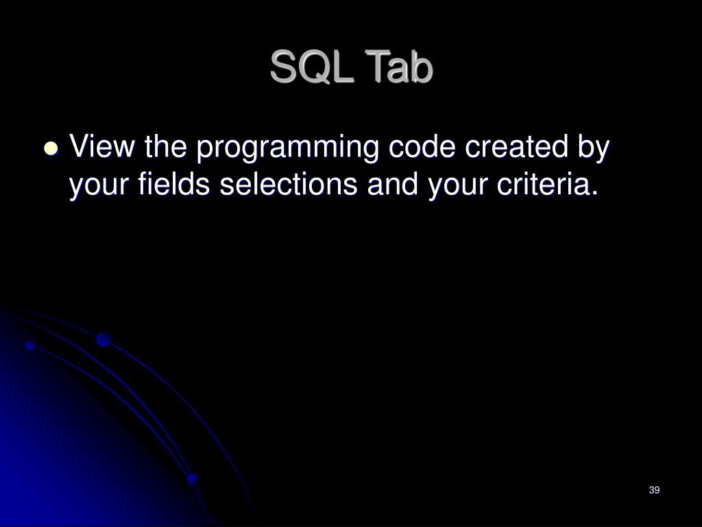 SQL Tab