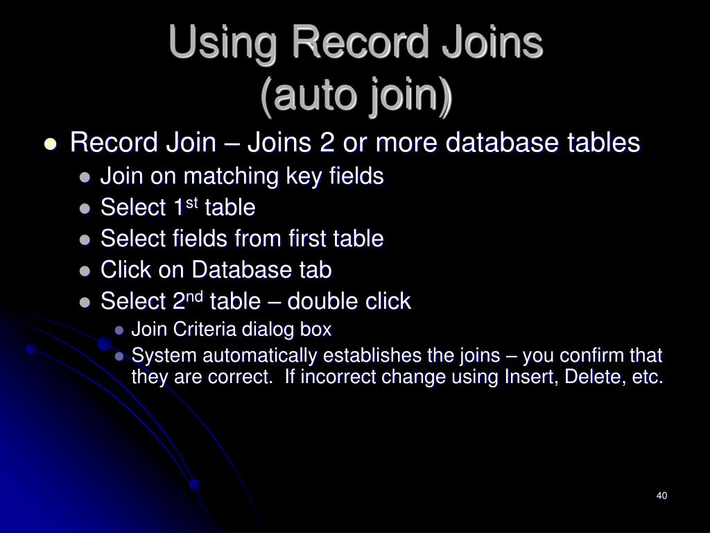 Using Record Joins