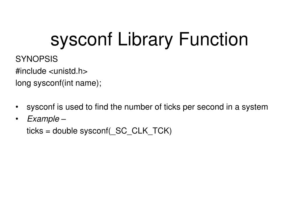 sysconf Library Function