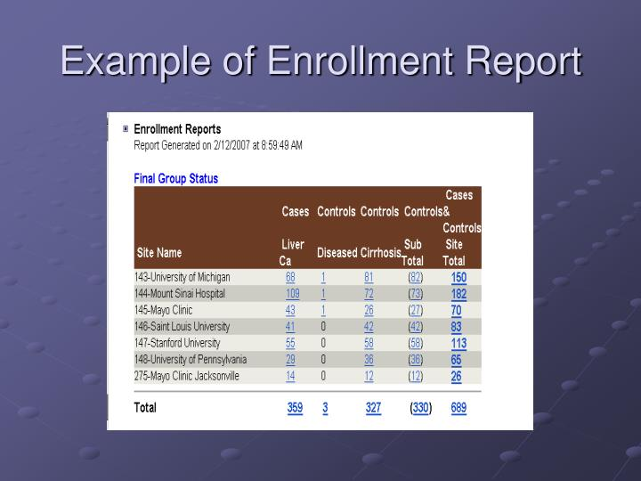 Example of Enrollment Report