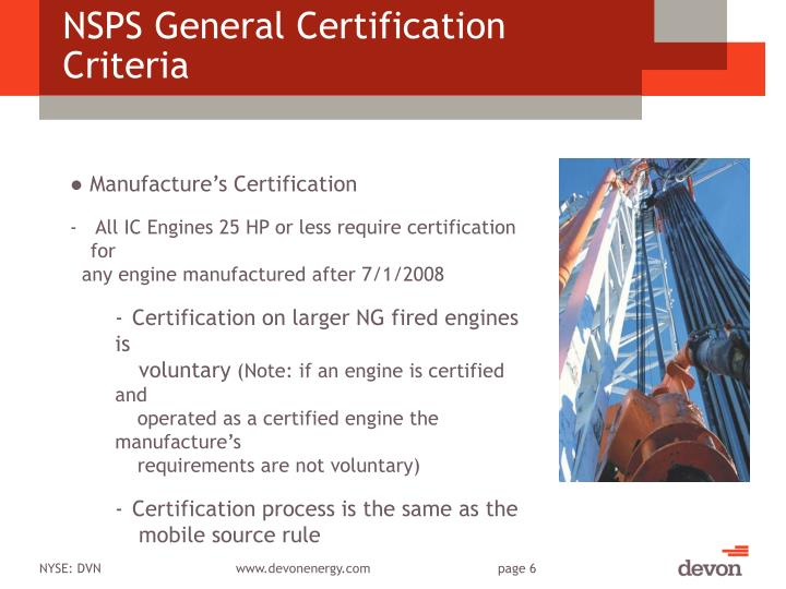 NSPS General Certification Criteria