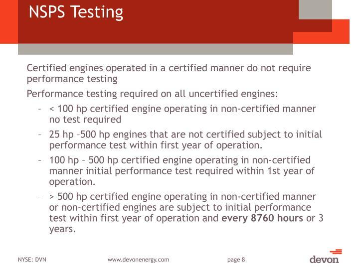 NSPS Testing