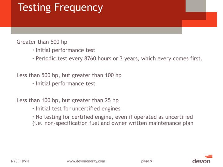 Testing Frequency