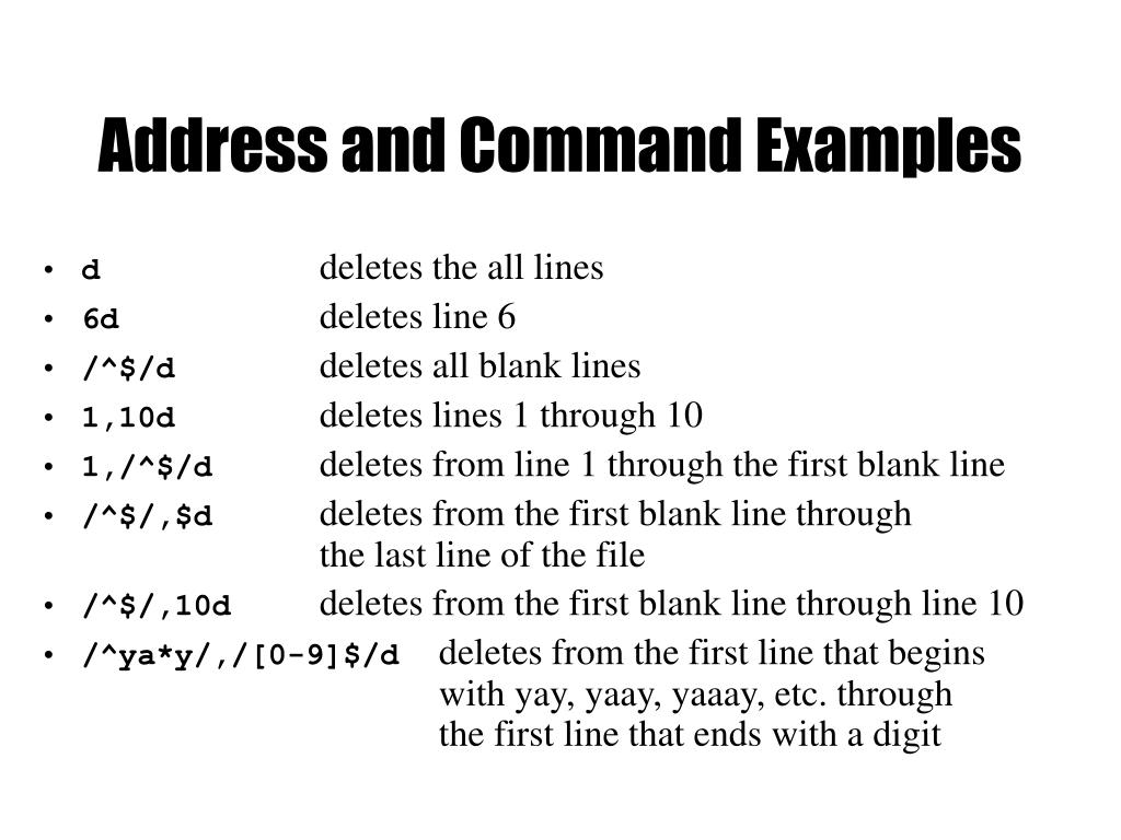 Address and Command Examples