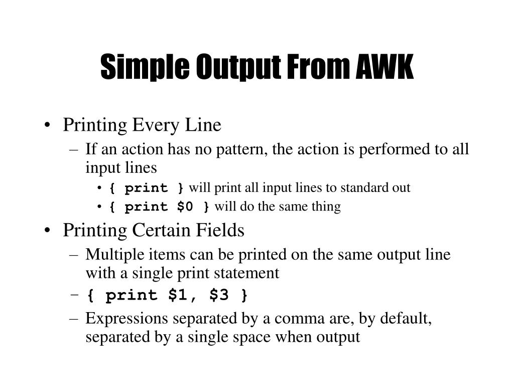 Simple Output From AWK