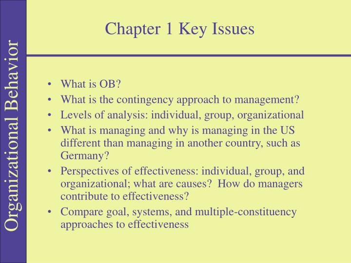 Chapter 1 Key Issues