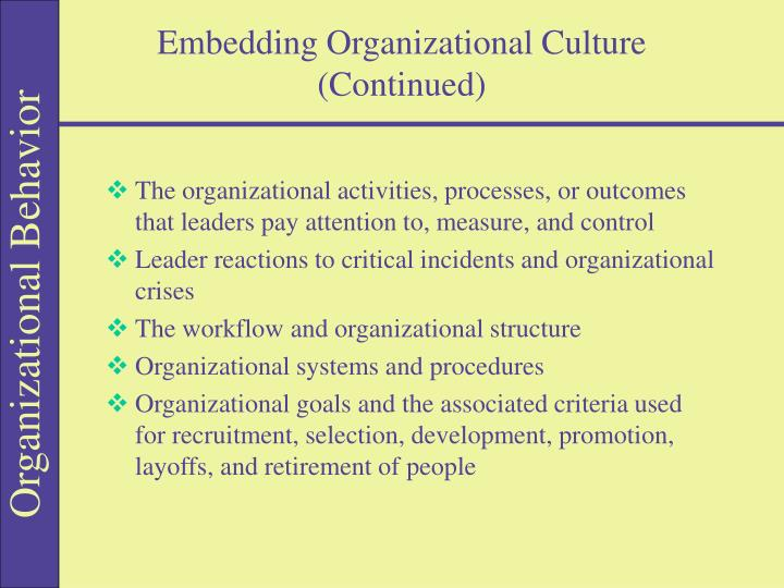 Embedding Organizational Culture