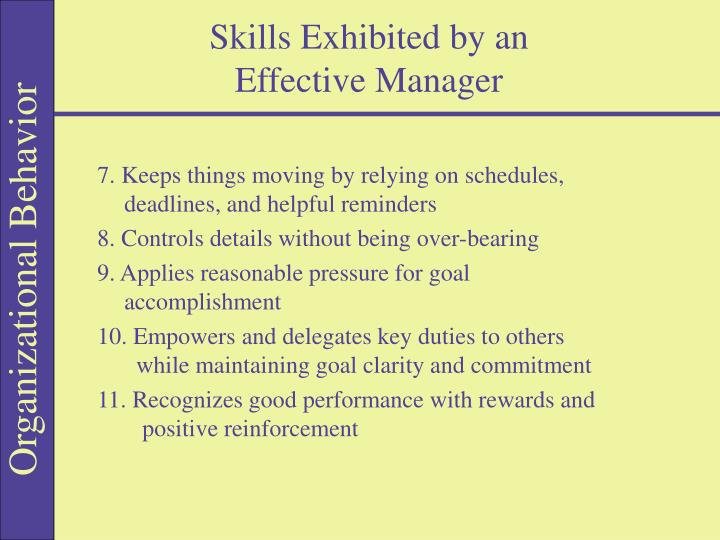 Skills exhibited by an effective manager1