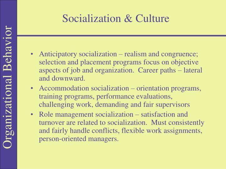 Socialization & Culture