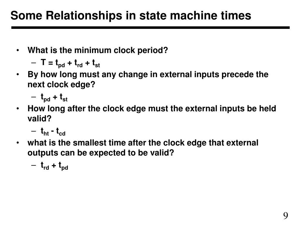 Some Relationships in state machine times