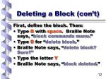 deleting a block con t