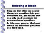 deleting a block