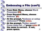embossing a file con t16