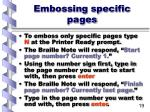 embossing specific pages