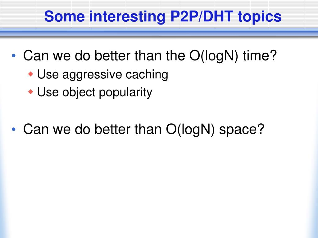 Some interesting P2P/DHT topics